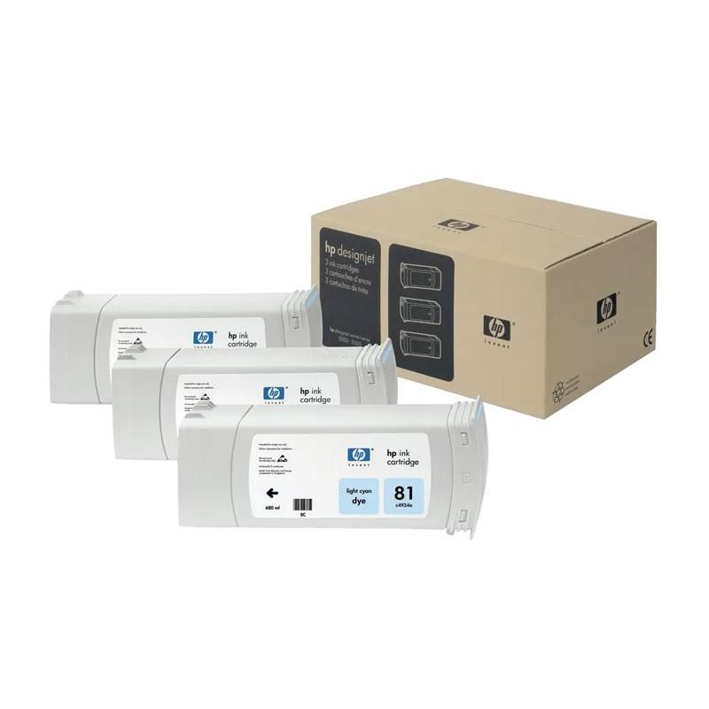HP - 81 Lt Cyan Dye, 3 Ink Multi Pack [C5070A]