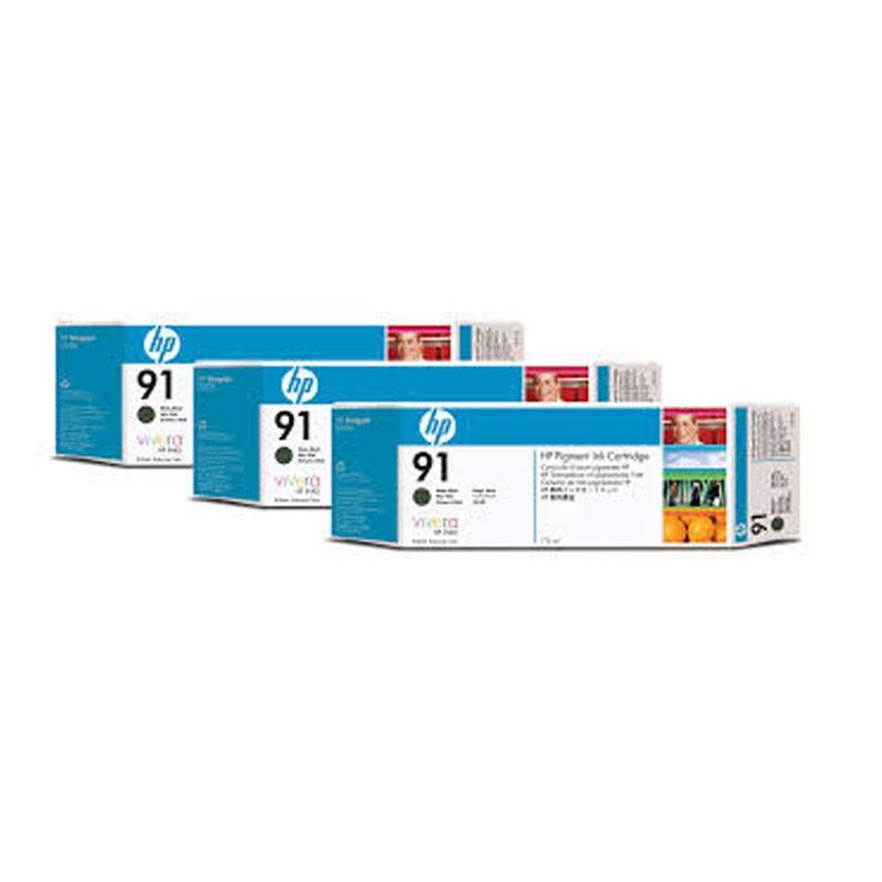 HP - 91 Matte Black 3 Ink Multi Pack cartridges [C9480A]