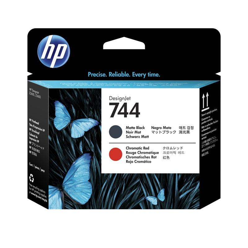 HP - 744 Mat Blk and Chrmtc Red Printhead [F9J88A]